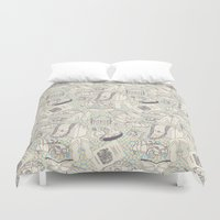 shopping Duvet Covers featuring Paris Shopping by RED ROAD STUDIO
