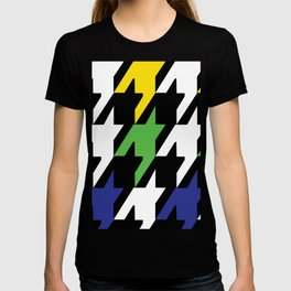 Jumbo Scale Masculine Colored Houndstooth Pattern T-shirt