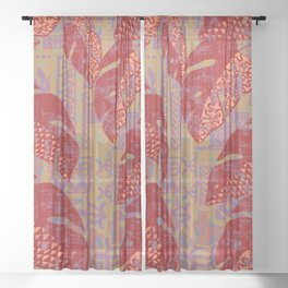 Hawaiian Lava Leaves Tapa Print Sheer Curtain
