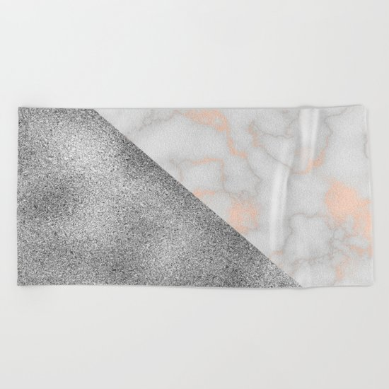 Rose gold marble and silver glitter Beach Towel
