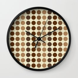 Shades Of Brown Polka Dots-Textured Wall Clock
