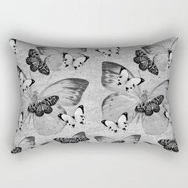 Vintage Butterflies (greyscale) Rectangular Pillow