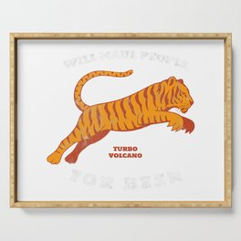 """Retro """"Will Maul People For Beer"""" Funny Tiger Serving Tray"""
