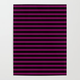 Large Black and Neon Pink Mattress Ticking Bed Stripes Poster