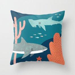 Silly Sharks Throw Pillow