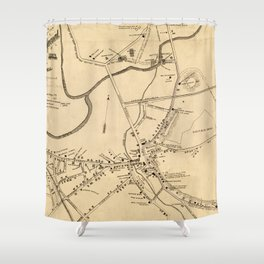 Vintage Battle of Concord Map (1875) Shower Curtain