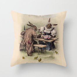 Easter bunnies - Vintage Illustration Throw Pillow