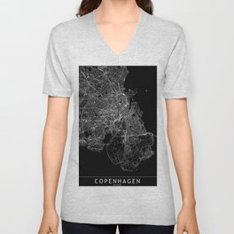 Copenhagen Black Map Unisex V-Neck