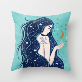 Cosmic Witch Throw Pillow
