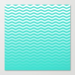 Turquoise Tropical Faded Ombre-Shaded Ocean Blue Green Sea Chevron Canvas Print