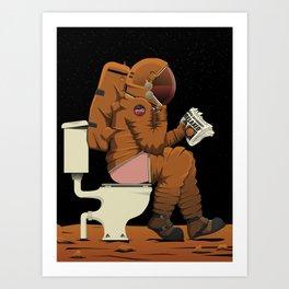 Mars Spaceman On the Toilet Bathroom Restroom Art Print