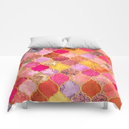 Hot Pink, Gold, Tangerine & Taupe Decorative Moroccan Tile Pattern Comforters