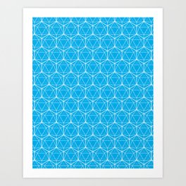 Icosahedron Pattern Bright Blue Art Print