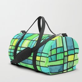 Green Frank Lloyd Wrightish Stained Glass Duffle Bag