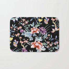 French Butterfly Black Bath Mat