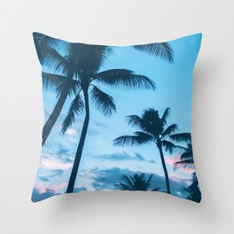 Sunset Palms Tree Throw Pillow