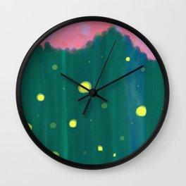 Tall Grass Pink Sky - Fireflies 1 Wall Clock