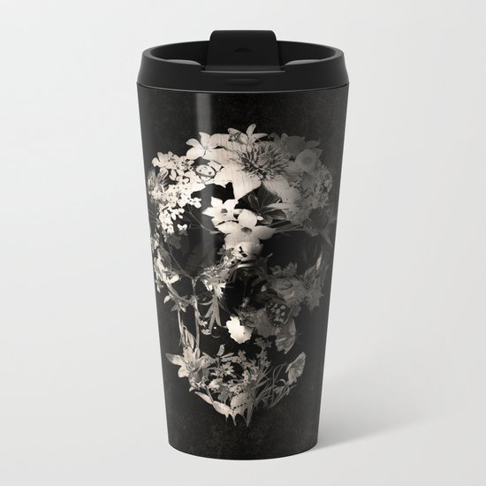 Spring Skull Monochrome Metal Travel Mug