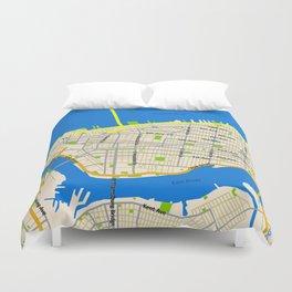 Manhattan Map Design Duvet Cover