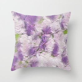 Purple - Lavender Fluffy Floral Abstract Throw Pillow