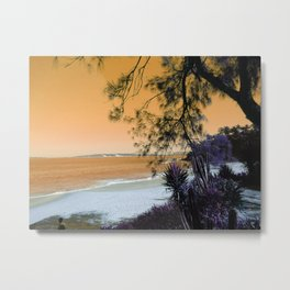 Tropical Beach in with Cacti in Orange Metal Print