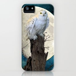 White Snowy Owl Bird Moon Blue A141 iPhone Case