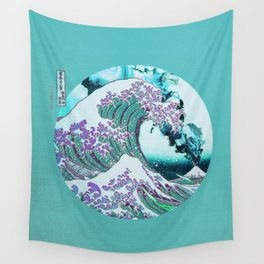 The Great Wave off Kanagawa With Mount Fuji Eruption Wall Tapestry