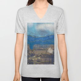 Cities under the Water - Surreal Climate Change Unisex V-Neck