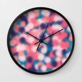 Modern Girly Coral Purple Paint Daub Art Wall Clock