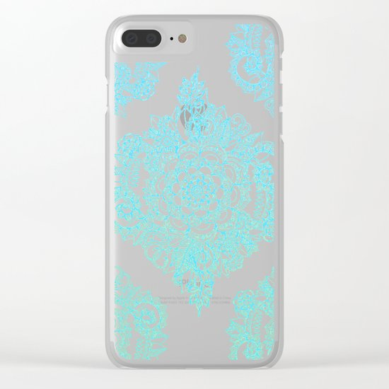 Cream Floral Moroccan Pattern on Deep Indigo Ink Clear iPhone Case