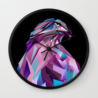 eagle Wall Clocks featuring Eagle by Jonathan Vizcuna