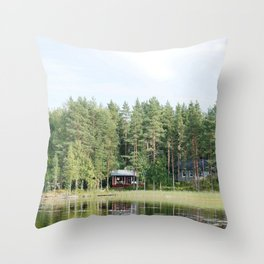 Cabin by the lake in Finland Throw Pillow