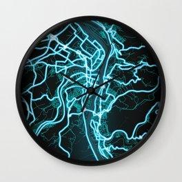 Koblenz, Germany, Blue, White, Neon, Glow, City, Map Wall Clock