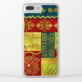 Ethnic African Golden Pattern on color Clear iPhone Case