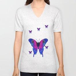 Butterfly Phone Pouch Design Purple Unisex V-Neck