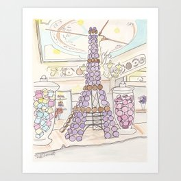 Eiffel Tower of French Macarons and Sweets in Paris  Art Print