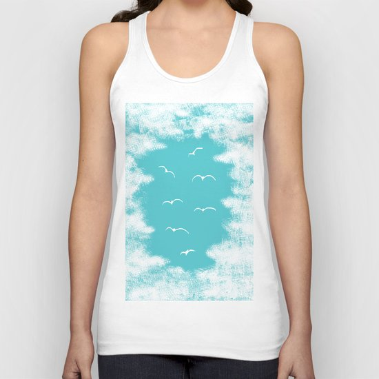 Seabirds and Clouds Unisex Tank Top