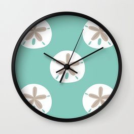 Sand Dollar on Aqua Wall Clock