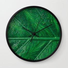 green leaf pattern Wall Clock