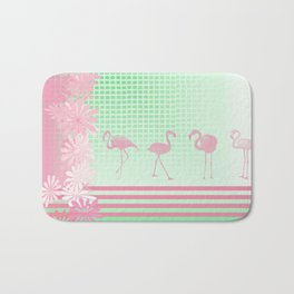 Baby Pink And Mint Green Flamingo Bath Mat