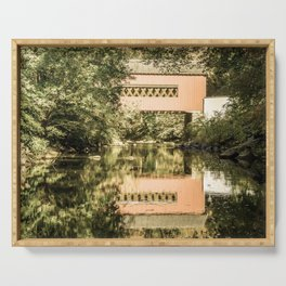 Rural Landscape The Reflections of Wooddale Cover Bridge Aged Effect Serving Tray