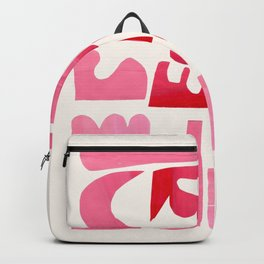 'Heart Shapes' Pink Red Colorful Abstract Paper Collage by Ejaaz Haniff Backpack