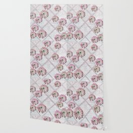 retro pink daisies Wallpaper