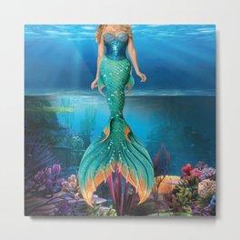 Mermaid in water Metal Print