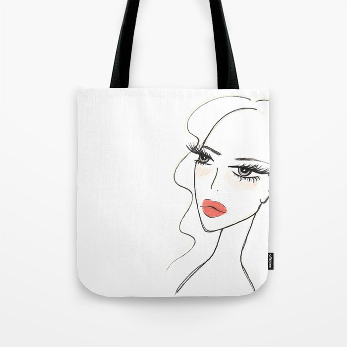 Red lips girl portrait Tote Bag