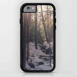 Winter forest sunset iPhone Case