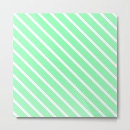Mint Diagonal Stripes Metal Print