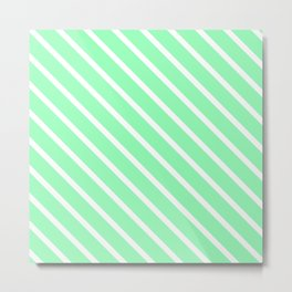 Mint Diagonal Stripes Metal Print