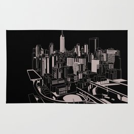 New York Black and White Rug