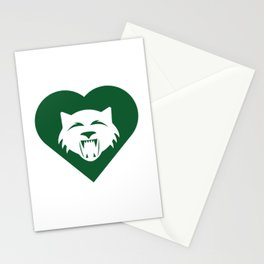 Wildcat Mascot Cares Green Stationery Cards
